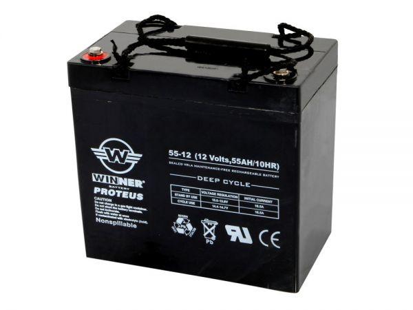 Longlife AGM-Batterie 12V/55Ah (sehr robust durch geschlossenes System, passend für Stativ)
