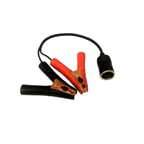 Adapterkabel mit Buchse für Zigarettenanzünder und Batterieklemmen (Krokodilklemmen)